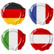 Germany, France, Italy, Austria national flag wax seals set isol — Stock Photo #31401993