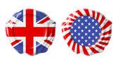 İngiliz ve abd üzerinde beyaz izole mühürler garanti — Stok fotoğraf