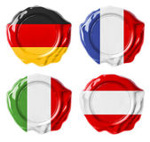 Germany, France, Italy, Austria national flag wax seals set isol — Stock Photo