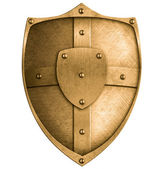Bronze metal shield isolated on white — Stock Photo