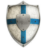 Aged metal shield with blue cross isolated on white — Stock Photo