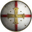 Round medieval shield with golden cross  — Stock Photo