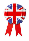 British or UK flag seal with ribbon — Stock Photo