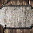 Medieval signboard on wooden wall — Foto Stock