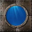 Rusty metal porthole underwater — Stock Photo