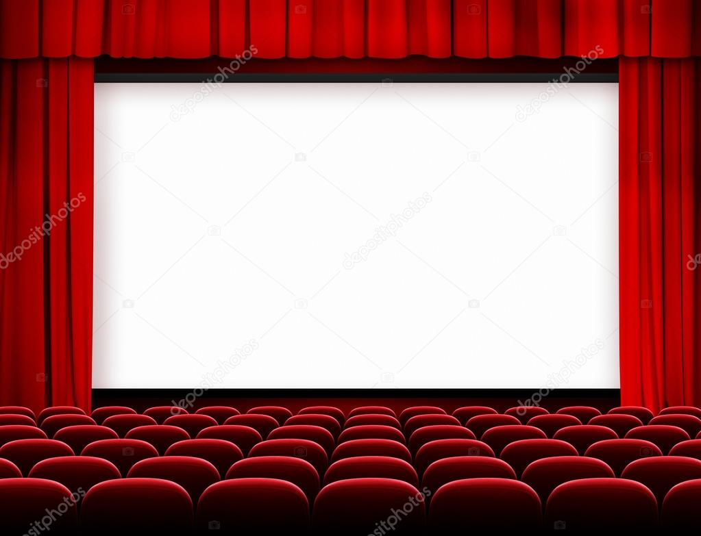Cran de cin ma avec des si ges et des rideaux rouges photographie andrey k - Sieges de cinema occasion ...