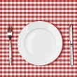 Knife, white plate and fork on red picnic table cloth — Stock Photo