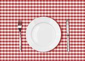 Faca, garfo na toalha de mesa de piquenique vermelho e branca placa — Fotografia Stock