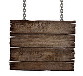 Old wood sign board on chain — Stock Photo