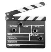 Conseil de battant de film avec des trous de balle — Photo