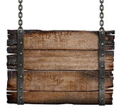 Old burnt wood sign board on chain — Stock Photo