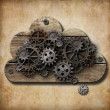 Wooden cloud with rusty gears attached to grunge background — Stok fotoğraf