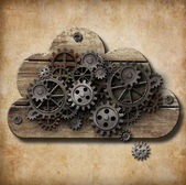 Wooden cloud with rusty gears attached to grunge background — Stock Photo