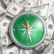 Compass over hundred dollars. Finance concept. — Stock Photo