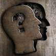 Human brain open with question mark on metal lid — Foto Stock