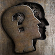 Human brain open with question mark on metal lid — Stockfoto