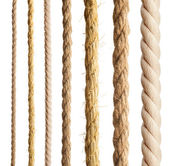 Rope isolated. Collection of different ropes on white background — Stock Photo