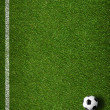 Soccer grass field with marking and ball top view — Stock Photo #34356455