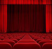 Theater or cinema curtain or drapes with red seats — Stock Photo