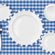 Plates gears work concept. Dinner dishes over blue tablecloth. — Stock Photo