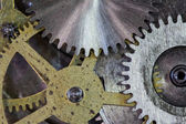 Clock gears and cogs macro background — Stock Photo
