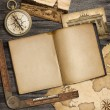 Adventure nautical background with vintage map, copybook and com — Stock Photo #36246853