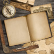 Stock Photo: Adventure nautical background with vintage map, copybook and com