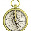 Old gold nautical compass isolated — Stock Photo