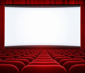 Kino velké obrazovce s červeným závěsem rámem a křesel — Stock fotografie