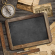 Adventure nautical background with vintage treasure map, blackbo — Stock Photo