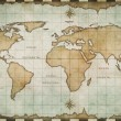 Stock Photo: Aged old world map