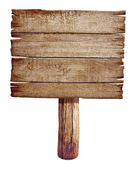 Wooden road sign board. Old post panel made from wood isolated o — Stock Photo