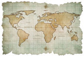 Aged world map isolated on white — Stockfoto