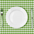 Knife, white plate and fork on green picnic tablecloth — Stock Photo