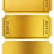 Gold tickets stubs isolated on white with clipping path included — Stock Photo #39291543