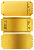 Gold tickets stubs isolated on white with clipping path included — Stock Photo