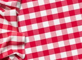 Red picnic tablecloth checkered — Stock Photo