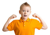 Adorable ten years old boy with funny face expression — Stock Photo