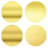Gold seals or medals set isolated on white — Stock Photo