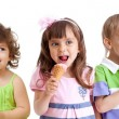 Happy kids group with ice cream isolated — Stock Photo
