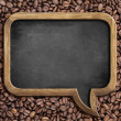 Speech bubble blackboard over coffee beans background — Stock Photo