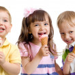 Happy children or kids group with ice cream isolated on white — Stock Photo