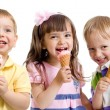 Happy children or kids group with ice cream isolated on white — Stock Photo #41360211