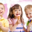Happy children or kids group with ice cream — Stock Photo