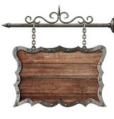 Medieval wooden sign board hanging on chains isolated on white — Stock Photo