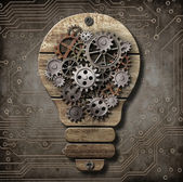 Wooden lamp with cogs and gears. Idea concept. — Stock Photo