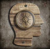 Human head and old compass. Path finding, idea concept. — Stockfoto