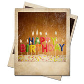 Old polaroid birthday candles instant photo frame isolated — Foto de Stock