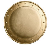 Round bronze or gold metal medieval shield isolated — Stock Photo