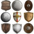Medieval shields 2nd collection isolated on white — Stock Photo